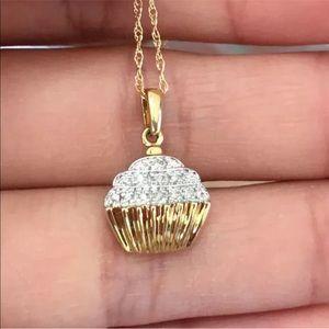 10k Gold Diamond Cupcake Necklace
